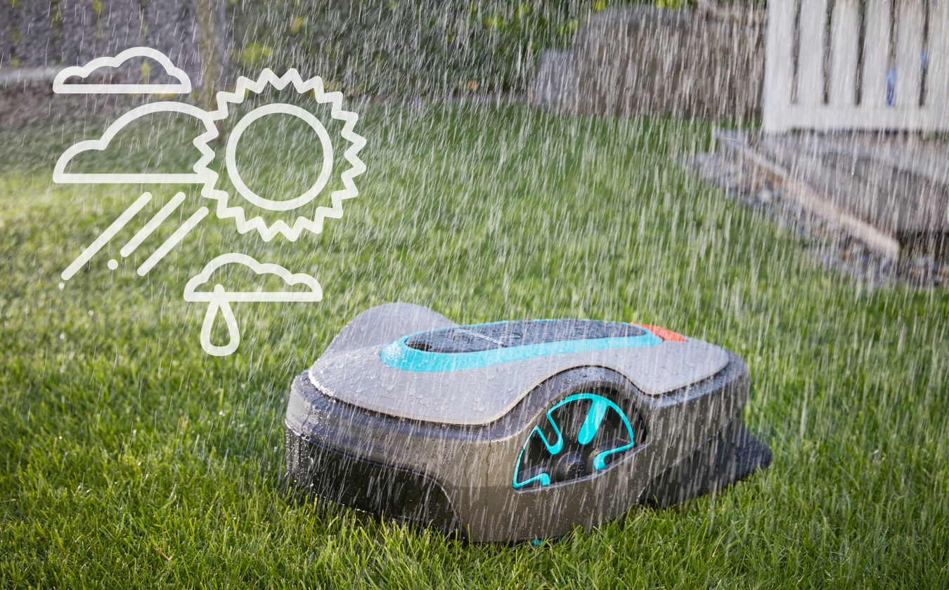 robots tondeuses gardena tondent sous la pluie